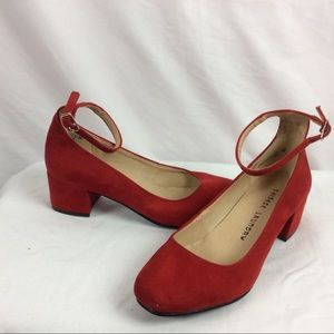 Super cute low heel ankle strap red shoes